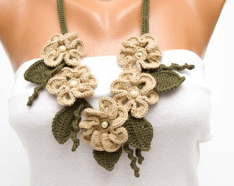 Statement necklace ,crochet jewelry ,crochet  bip necklace,crochet necklace, fiber  necklace