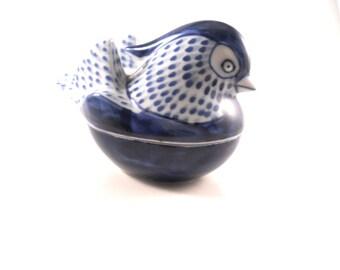 Blue Bird Trinket Treasure Keepsake Box Vintage