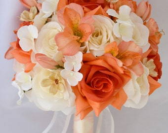 "17 Piece Package Wedding Bridal Bride Maid Of Honor Bridesmaid Bouquet Boutonniere Corsage Silk Flower CORAL ORANGE ""Lily of Angeles"" IVOR05"