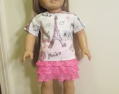 American Girl Doll Paris Sparkle Top with Pink Sparkle Tier Skirt