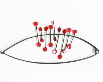 Shawl pin, Big silver black pin, safety pin, Black red shawl pin, Big black shawl pin, Contemporary jewelry, Great black pin, Big red brooch