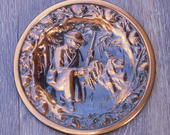 Copper Plaque, Hunter and Dog, Irish Setter, Father's Dad, Dad, Hunter, Retriever Dog, Rifle, Guns, Mid Century Modern, Patina