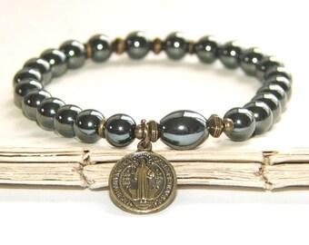 Saint Benedict Bracelet, Hematite & Brass - Catholic Patron Saint Bracelet