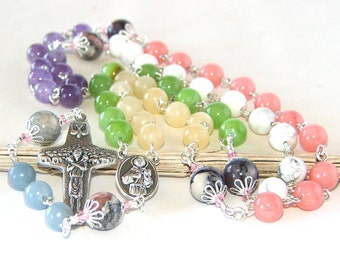 Catholic Rosary with Mixed Gemstone Beads, St Francis & St Clare Center and Pope Francis Cross