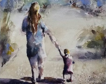 walk, park, mother, daughter, baby, toddler, pink , figurative, mother and child. At Your Pace. original watercolor pain
