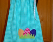 Let the Easter egg hunt begin, girl, toddler, tween, tuquoise blue fabric pillowcase dress with eggs applique,12m 18m 2T 3T 4T 5 6 7 8 10 12