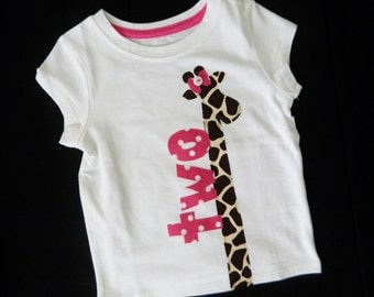 Baby girl, toddler shirt with classy, lanky giraffe, pink bow and birthday number applique sizes 12m - 12