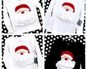 Christmas Santa Ribbon Beard Appliqué Long Sleeve Tee