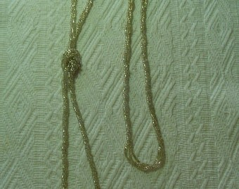 Beaded Tie-End Necklace - Vintage - Very Long and Sparkly Necklace - Vintage Necklace