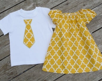 Brother and Sister Matching Outfits - Girl's Mustard Yellow Quatrefoil Peasant Dress with Brother Appliqued Tie Shirt