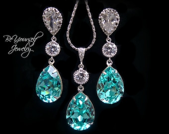 Teal Blue Bridal Earrings Sea Green Teardrop Bride Necklace Swarovski Crystal Light Turquoise Wedding Jewelry Bridesmaid Gift Something Blue