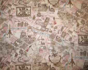Vintage Paris Landmarks Map Pink Cotton Fabric Fat Quarter or Custom Listing
