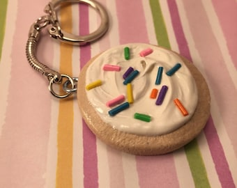 Little Frosted Sugar Cookie with Sprinkles Keychain - Polymer Clay Sculpture - Art by Sarah Price