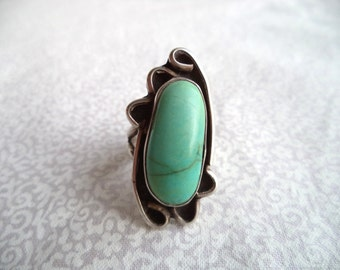 Boho turquoise and silver ring/ vintage big mint green stone/ bohemian oval ring size 6.25-6.5