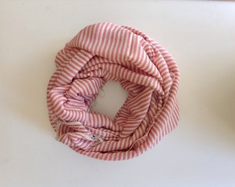 Charlotte scarf- Pink Rose scarves scarf- Pastel Pink and White Ticking stripe cotton Scarf- Women pink White Ethiopian cotton stole.