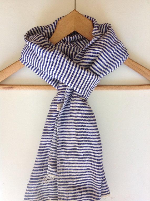 Nautical Navy Blue & white Cotton ticking Stripe Scarf- Men Women Hand woven Ethiopian Cotton Scarf- Luxury Scarf INDIGO white stole scarf