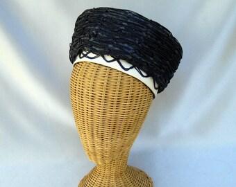 Vintage Ladies Hat Navy Blue Straw Toque Michael Terre
