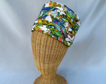 Vintage Ladies Hat Tall Mod Multi Colored Pleated Fabric Henry Pollak Wool Felt