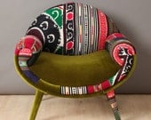 RESERVED: Smiley Patchwork Armchair - Spring