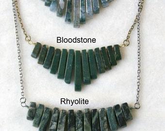 Graduated Gemstone Fan Necklace Moss Agate, Bloodstone, Rhyolite