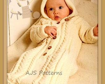 PDF Knitting Pattern - Babies Aran Style Sleeping Bag or Cocoon - Instant Download