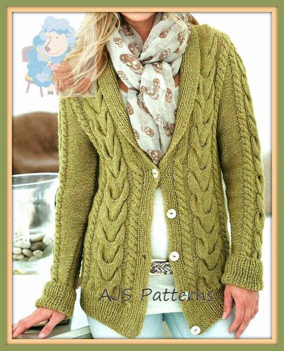 PDF Knitting Pattern Ladies Shawl Collared Cabled Aran