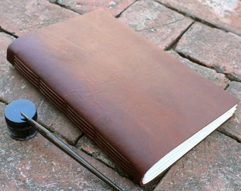 "7x9 "" Leather journal / notebook with parchment paper - Handbound leather journal"