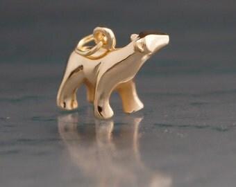 14 k polar bear pendant
