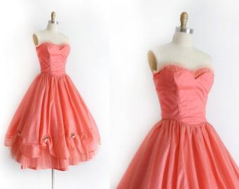 vintage 1950s dress // 50s coral pink strapless prom dress