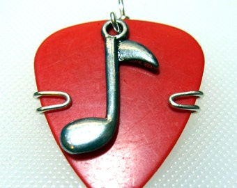 Guitar Pick Necklace with Music Note