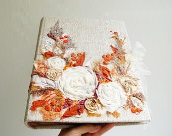 Custom Made Wedding photo album, Large album, Embroidered photo album, Rustic wedding photo album.