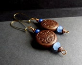Brown and Blue Dangle Earrings:  Large Medallion Earrings, Chocolate and Aqua Long Drop Gold Wire Tribal Earrings, Winter Jewelry