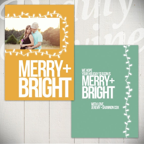 Christmas Card Template: Merry & Bright A - 5x7 Holiday Card Template for Photographers
