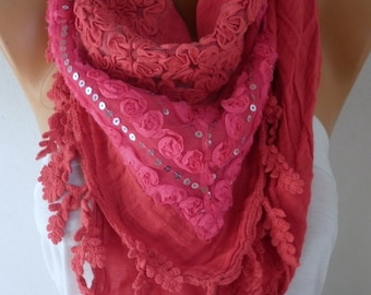 La Vie en Rose - Exclusive Red Scarf, Fall Shawl,Wedding Scarf,Bohemian,Gift Ideas for Her, Women Fashion Accessories, Evening Wrap