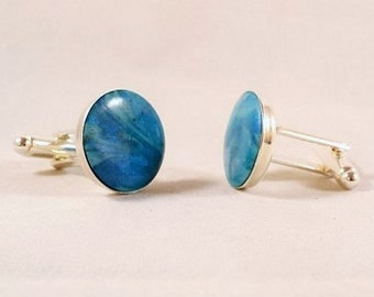 Turquoise Clay & Silver Plated Cuff Links - Handmade Polymer - CFL-9235