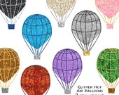 Glitter Clip Art, Hot Air Balloon Clipart Printable Wall Art - Printable Air Balloon Decor