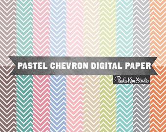 Pastel Chevron Digital Paper Pack, Background Chevron Digital Paper, Chevron Pattern Backgrounds