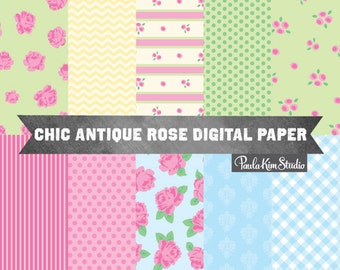 Shabby Chic Digital Paper, Shabby Chic Digital Images, Digital Scrapbook Paper Pack, Clipart Shabby Chic Rose