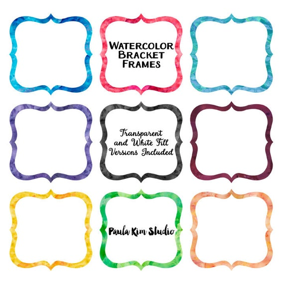 Watercolor Bracket Frame Clipart Borders Clip Art