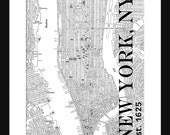 New York City Map - Manhattan Street Map Vintage - Manhattan
