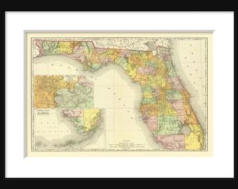 Vintage  Map Of Florida Vintage Print Poster