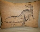 T Rex Burlap Pillow, Kids, Nursery, Dinosaurs, Dino, Tyrannosaurus Rex, INSERT INCLUDED