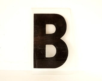 """Vintage Industrial Marquee Sign Letter """"B"""", Black on Clear Thick Acrylic (7 inches tall) - Industrial Decor, Altered Art Assemblage Supply"""