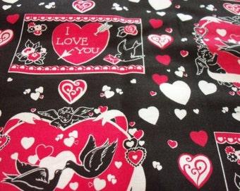 Fabric Valentine Hearts I Love You Cupid Doves Black Fat Quarter New BTFQ