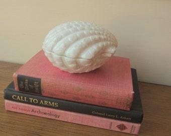 Porcelain clam shell box.  Home decor.  Desk Dresser Bath organization.