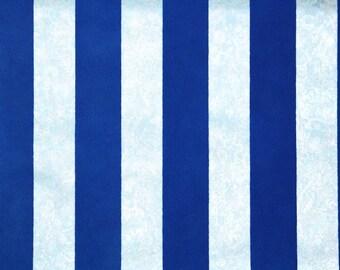 Retro Flock Wallpaper by the Yard 70s Vintage Flock Wallpaper - 1970s Royal Blue Flock Stripes on Blue Marble Background
