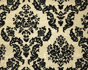 Retro Flock Wallpaper by the Yard 70s Vintage Flock Wallpaper - 1970s Black and Gold Flock Wallpaper