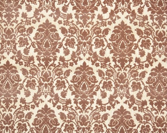 Vintage Flock Wallpaper by the Yard 70s Retro Flock Wallpaper - 1970s Brown Damask on Gold