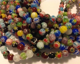 """one strand of 15.5""""  6mm mixed colored Millefiori Glass Flower Beads"""