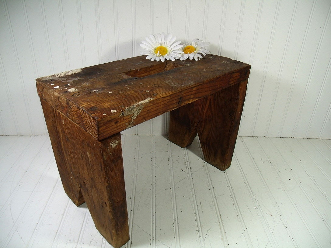 Primitive solid wood large foot stool heavy duty bench